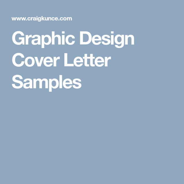 Graphic Design Cover Letter Samples  Job