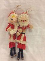 "Vintage Delta Pipe cleaner felt Skinny Santa Claus & Mrs Ornament Japan 9"" Tall"