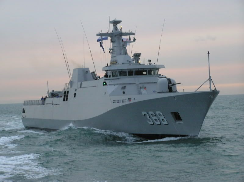 Kri Frans Kaisiepo corvette of Indonesian Navy. 90 meters in length & displacement of 1,444 tons. Carries a complement of 100 naval personnel including 9 officers & 91 sailors.