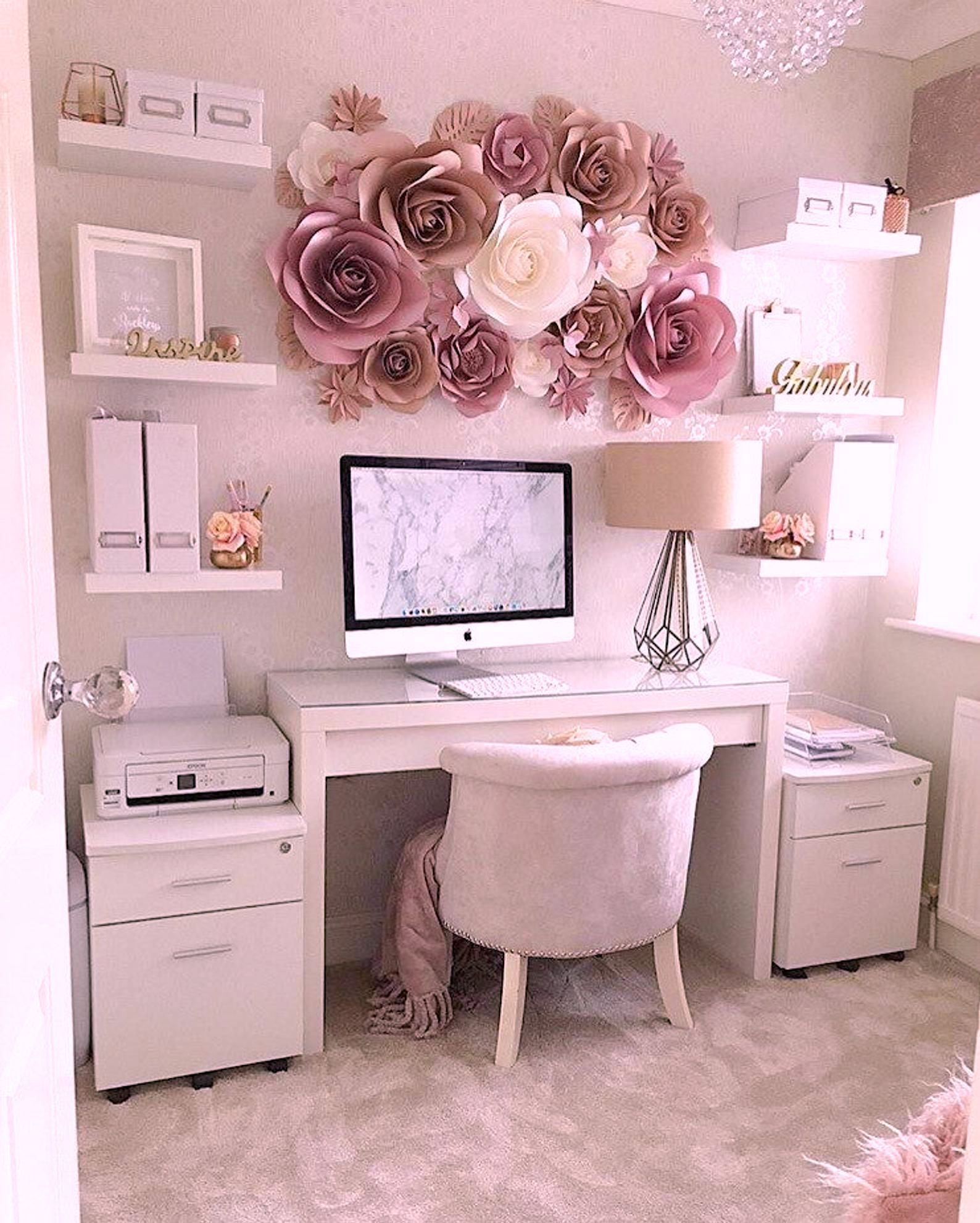 When You Want To Add A Little Comfort And Coziness To Your L El Style In 2020 Paper Flower Wall Decor Feminine Home Offices Home Office Decor