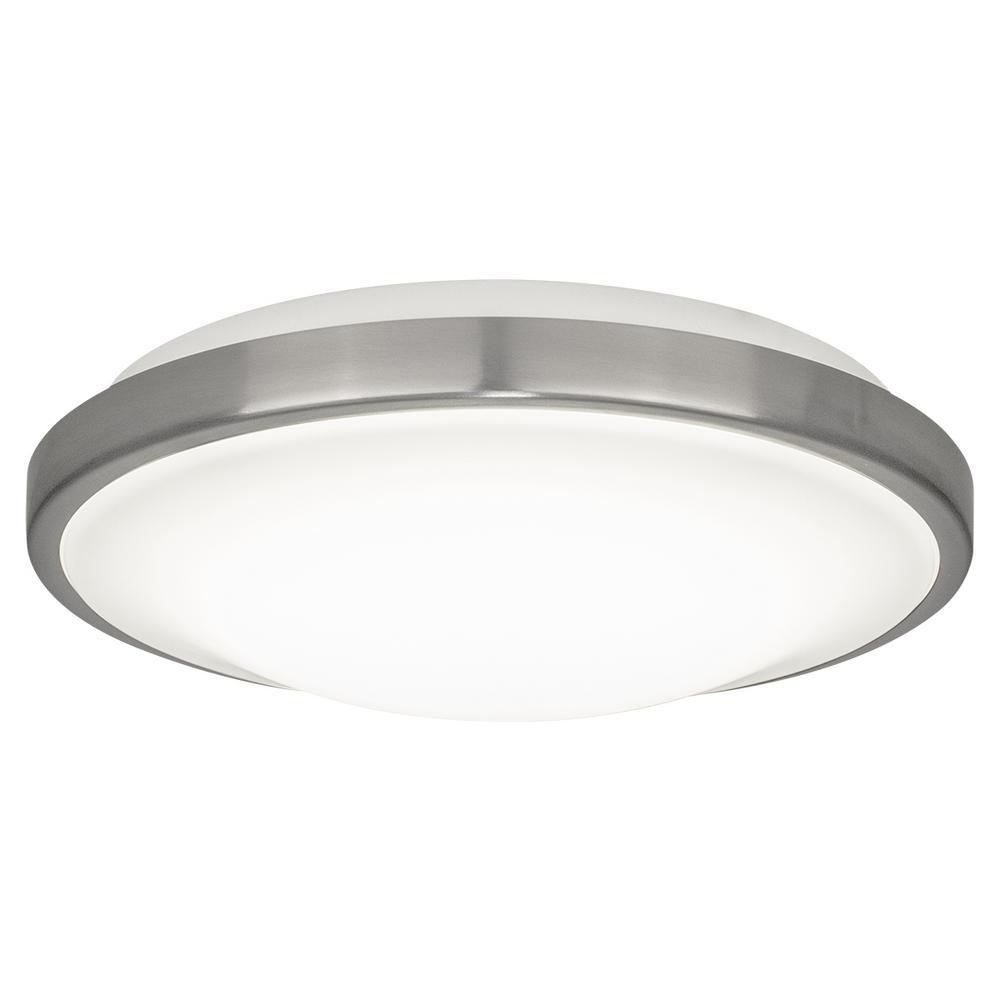 Bazz 11 In 20 Watt Brushed Chrome Integrated Led Flush Mount C17256bs The Home Depot Led Flush Mount Flush Mount Ceiling Lights Flush Mount Ceiling