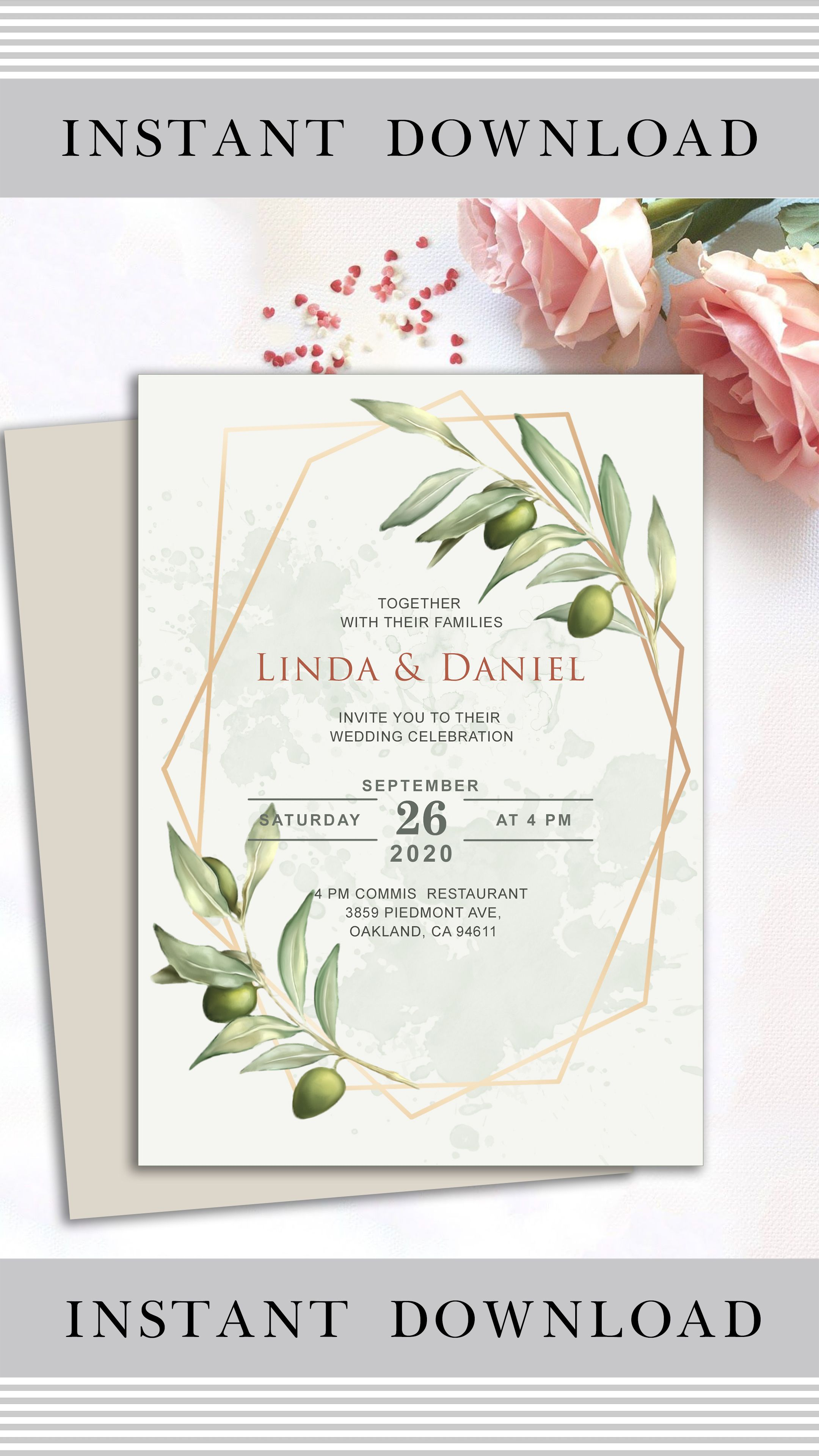 Olive wedding invitation template geometric wedding etsy