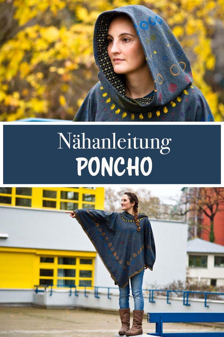 Gratis Nähanleitung - Poncho nähen leicht / Freebook für Anfänger
