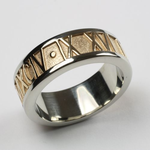 6a36148ce Two Tone Roman Numeral Ring (14k Yellow & White Gold) - Our Roman Numeral  rings are one of our most popular designs. A whole lotta weddings and ...