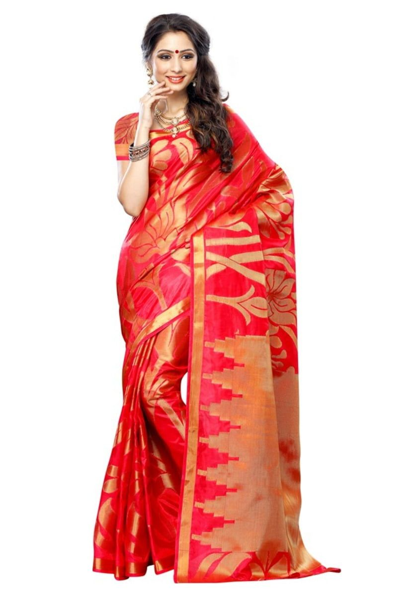 261db66caf698f Mimosa Women'S Art Fancy Silk saree ,Kanchipuram Style,Color:  Straberry-Fulpy Social Shopping | Share, Discover and Buy Handpicked  Products