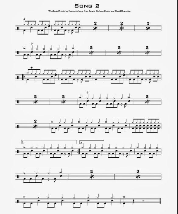 partition batterie song 2 blur