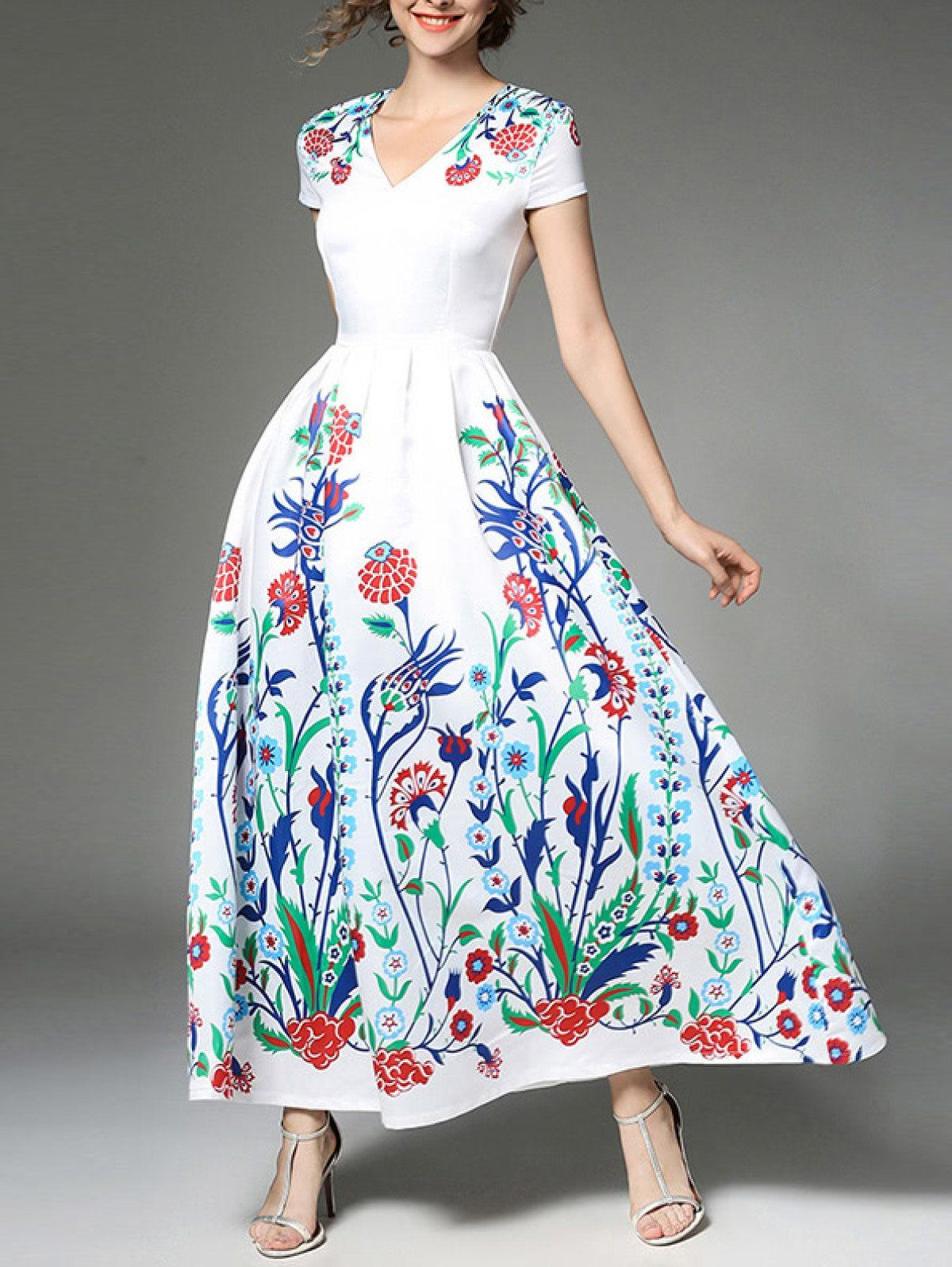Dresses by borntowear botanical print full length dress dresses