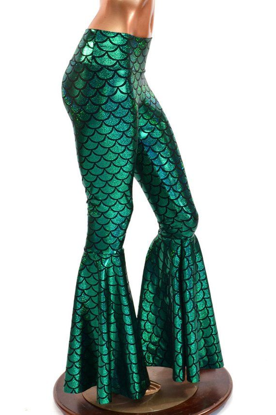 e24e7a6359bcf3 Bell Bottom Flares in Emerald Green Mermaid Scale Leggings with High Waist  & Stretchy Holographic Ny