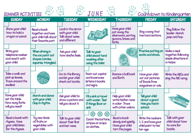Calendar Games For Kindergarten : Great summer activity calendar for you and your child to