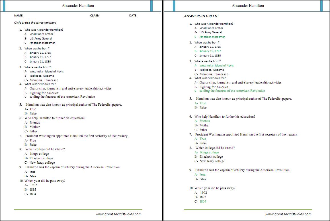 Free worksheets on Alexander Hamilton   Alexander hamilton [ 778 x 1159 Pixel ]