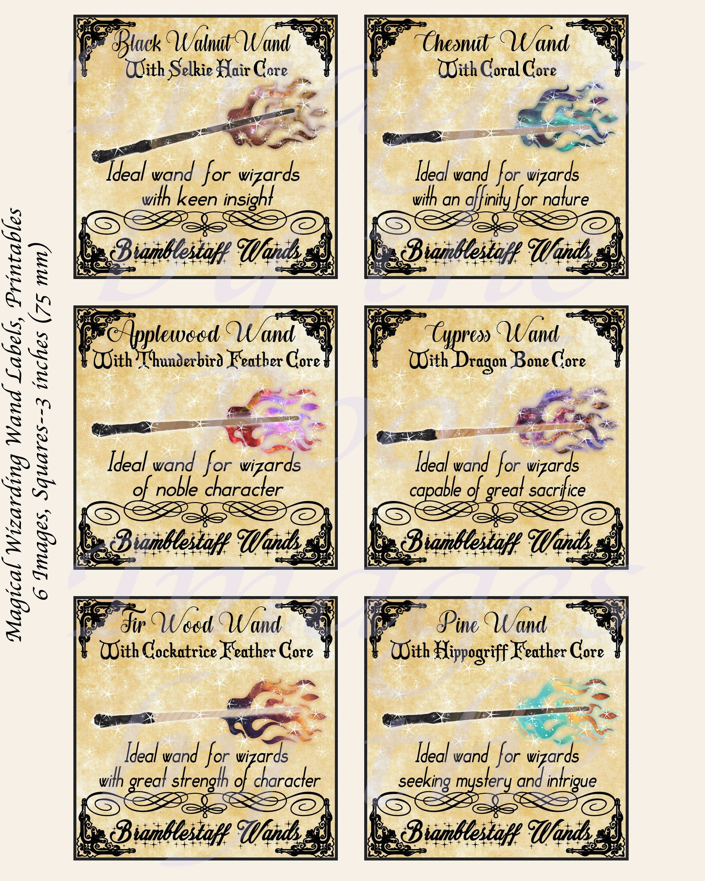 Fantasy Labels Inspired By Harry Potter Wands For Young Wizards Extra Large Squares 1 5 Inch 2 Inch Harry Potter Quilt Harry Potter Diy Harry Potter Wand