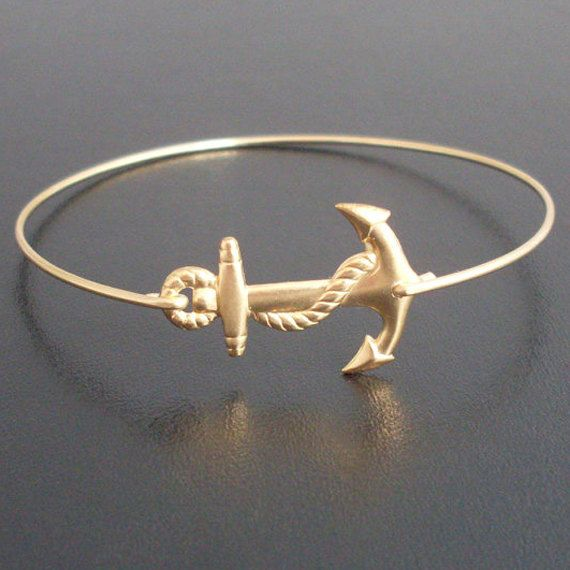 Anchor Bracelet Gold Bangle Sailor Charm Ocean Jewelry Navy Wife Nautical