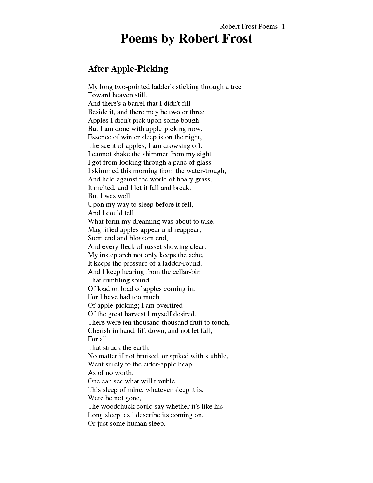 robert frost s after apple picking poetry poem robert frost s after apple picking