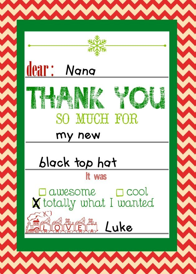 Free Printable Christmas Thank You Cards For Kids  Free