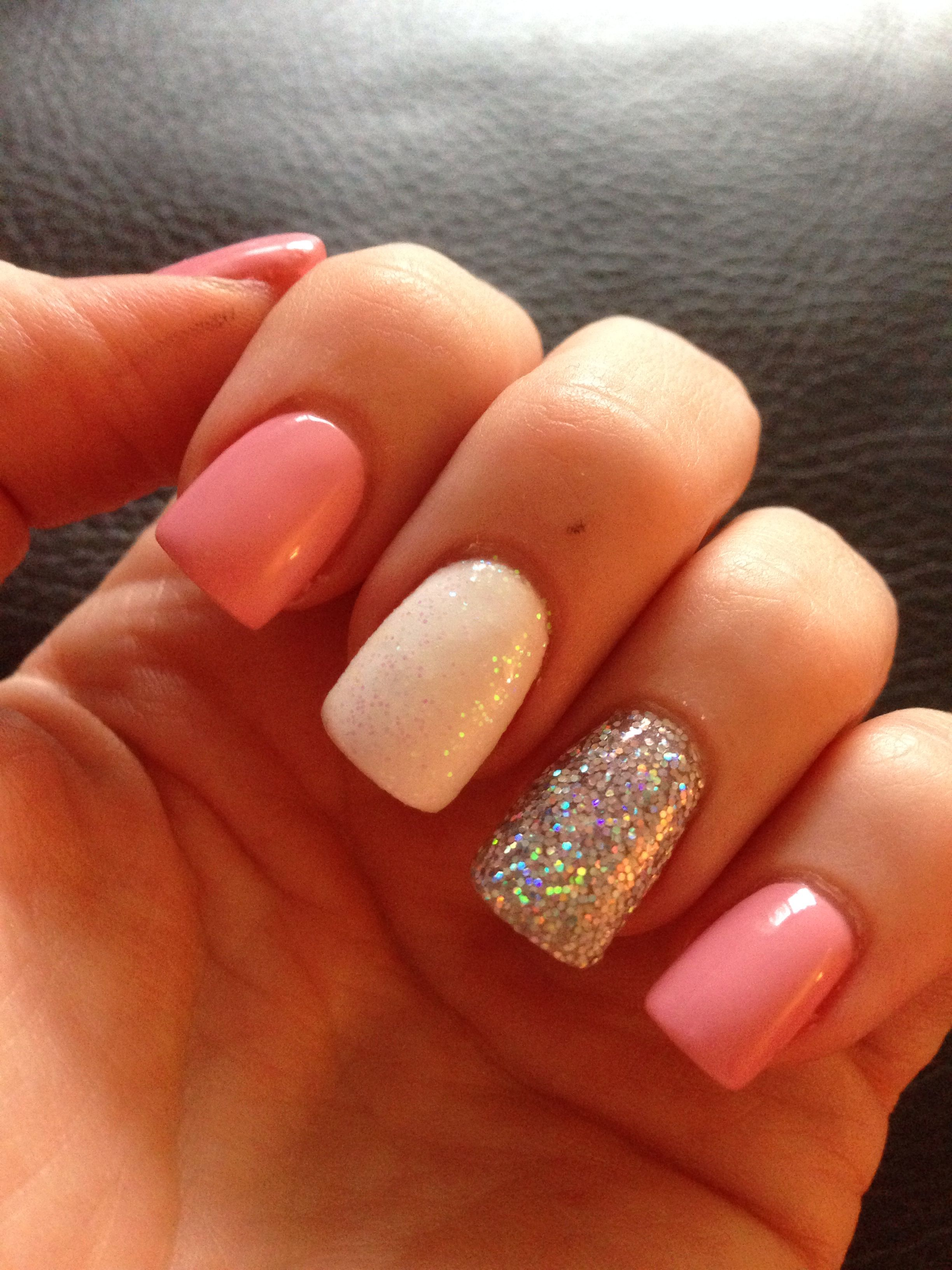 Super girly, pin, white and glitter acrylics :)