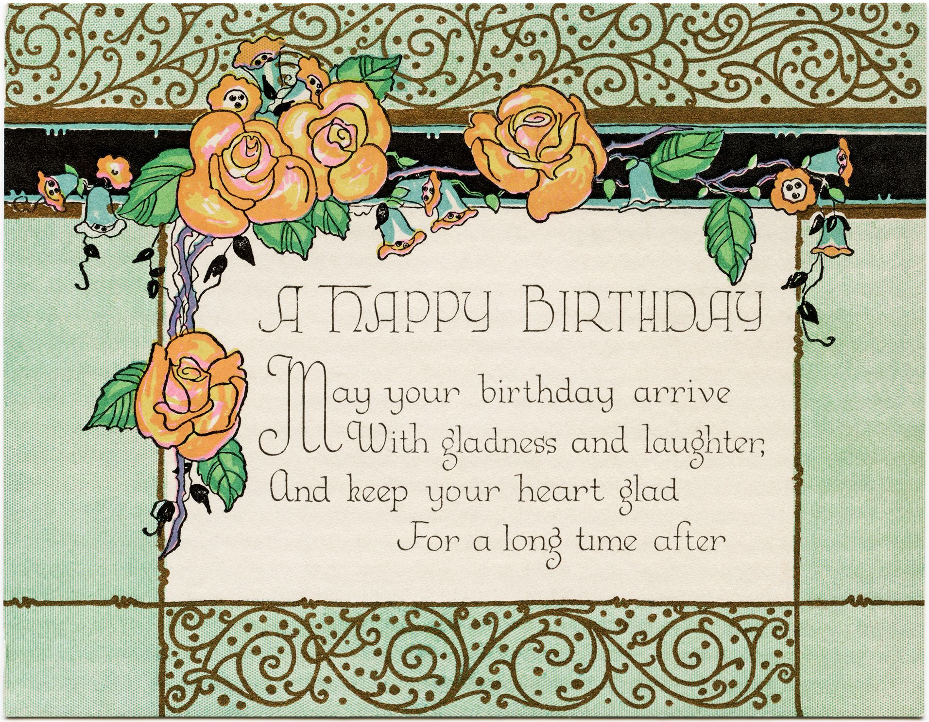 Art Deco Birthday Card Free Download Old Design Shop Blog