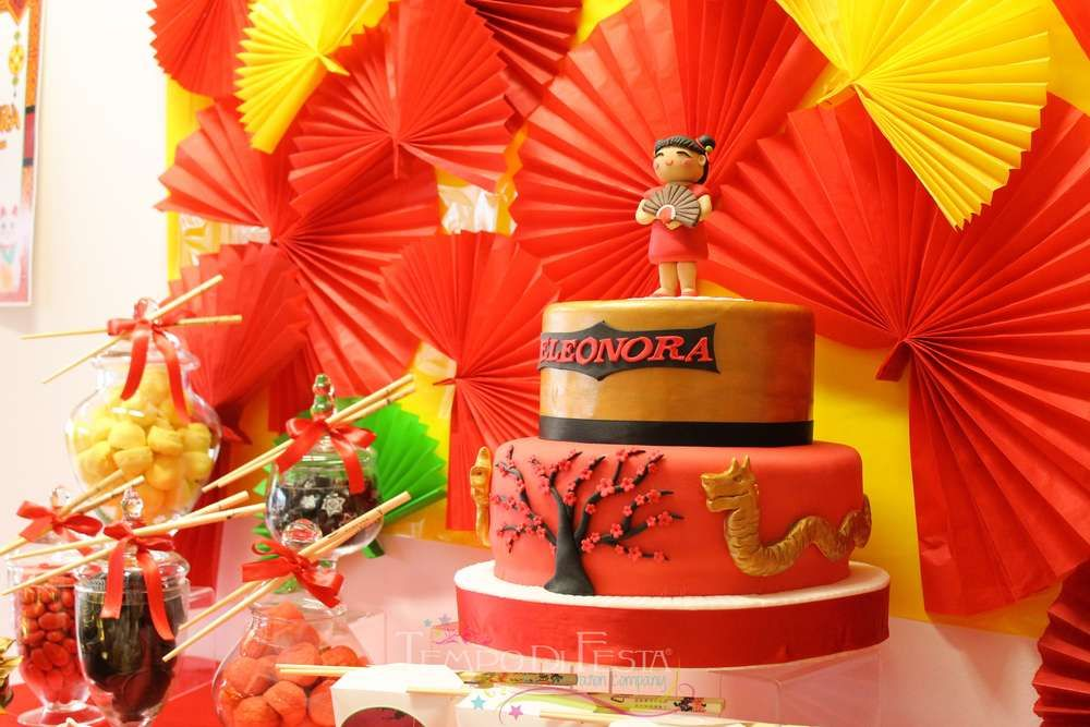 Wow! How cute is this Chinese inspired birthday cake? Don't miss the rest of this great birthday party! See more party ideas and share yours at CatchMyParty.com