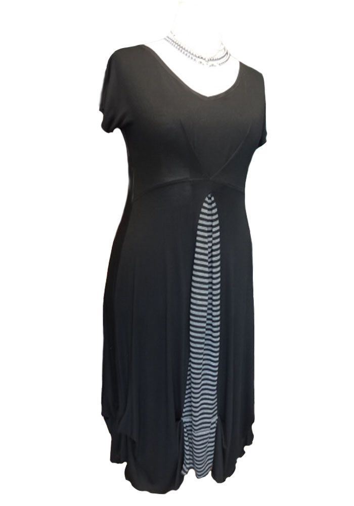 CA111 Caroline Ann Black Dress with Stripe Contrast Made in UK PLUS SIZES 12-40