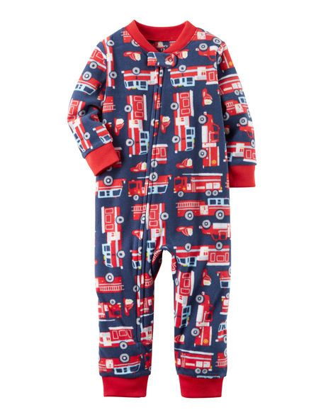 847e0cfb2694 1-Piece Firetruck Fleece Footless PJs
