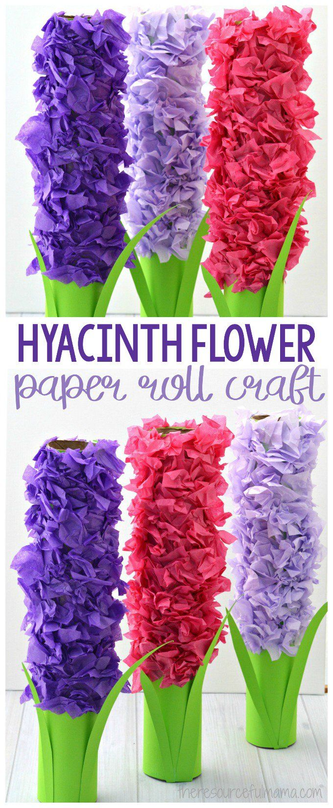 Transform paper towel rolls and tissue paper into a lovely hyacinth flower craft kids can make this spring. #kidscraft #flowers #crafts #spring