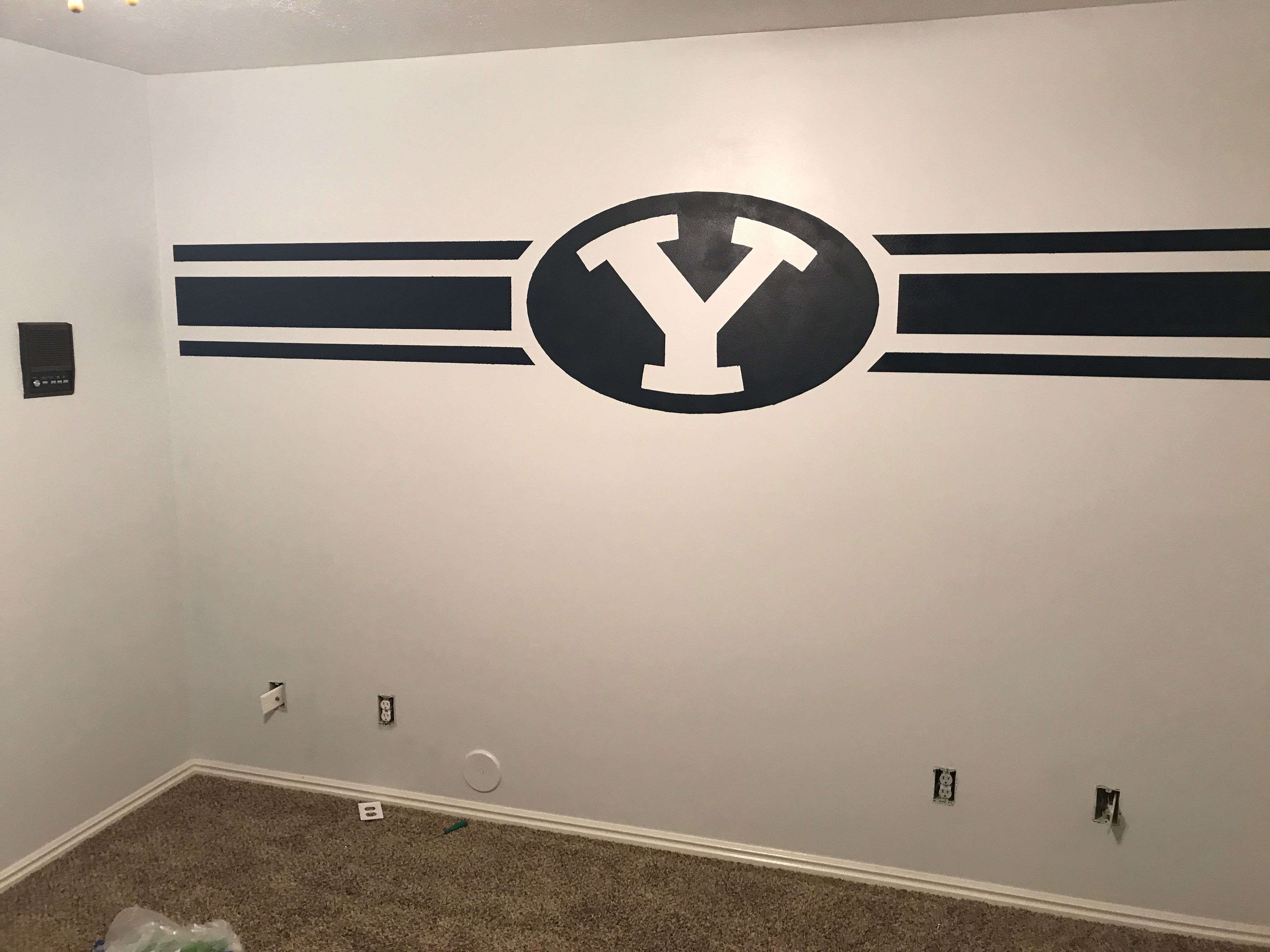 Byu Wall Byu Mancave Byu Man Cave Byu Cougars Byu Football Room Boy Wall Art Man Room Room Ideas Bedroom
