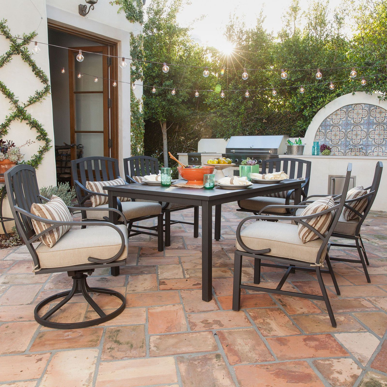 Patio Furniture Sets Clearance 7 piece Cushion Dining