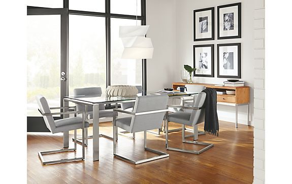 Rand Table and Lira Chair in Stainless Steel - Top + Base Inspiration Gallery - Room & Board