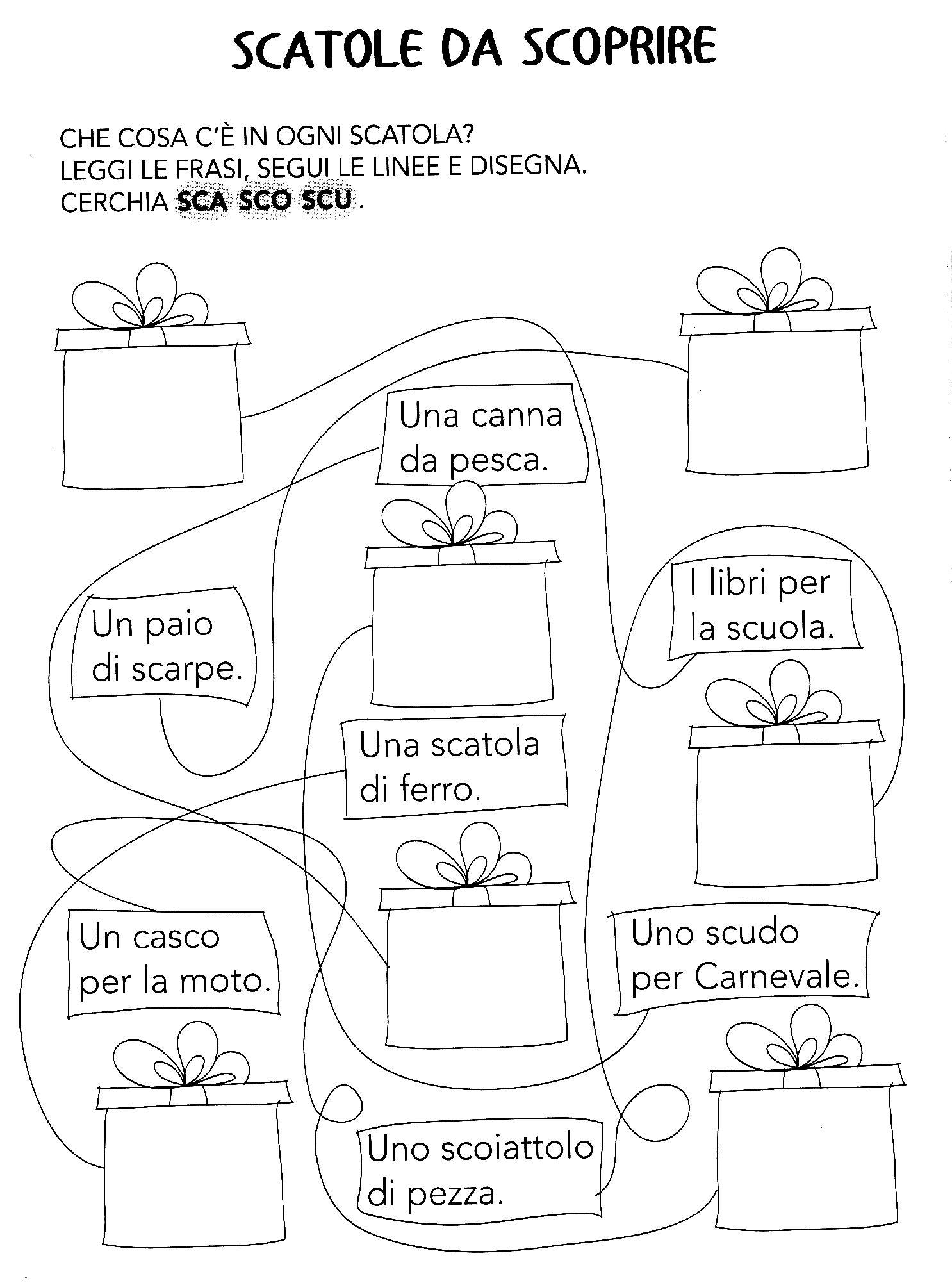 Sca sco scu ortografia primo ciclo pinterest for Dettato con sca sco scu