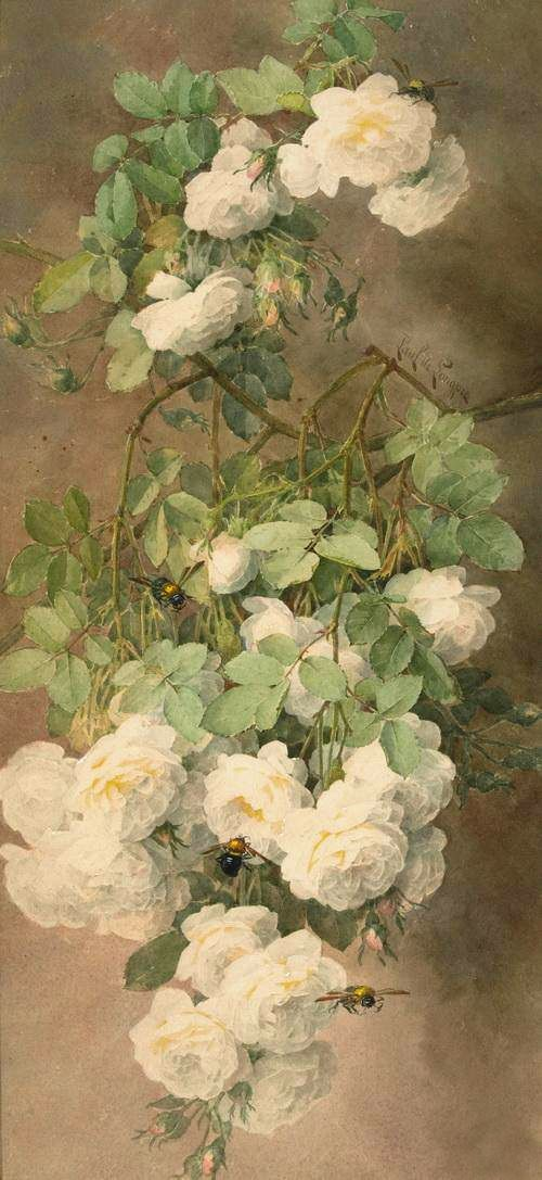 All sizes | Paul de Longpré 'White Roses and Bumblebees' c.1900 | Flickr - Photo Sharing!