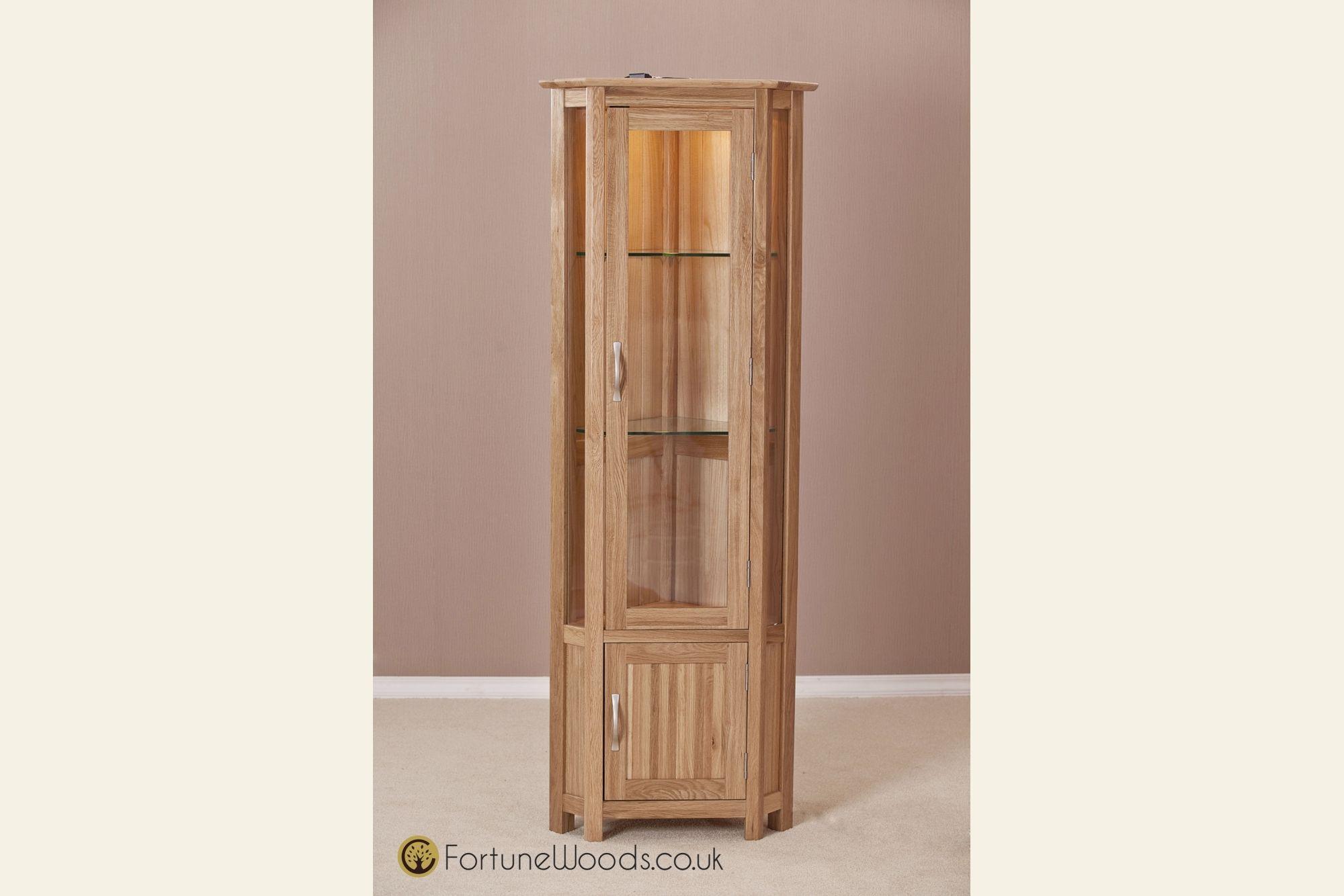 Oak Corner Display Cabinets With Light