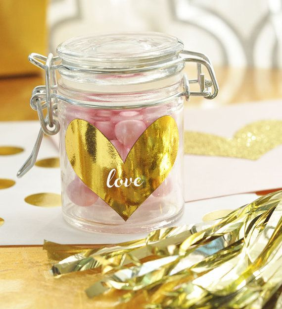 Mini Gold Heart Stickers are perfect for a Pink and Gold Bridal Shower Theme by ModParty