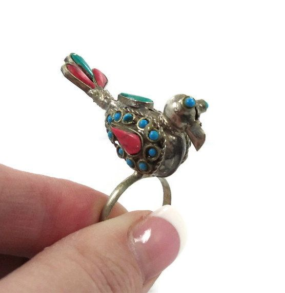 Ethnic bird ring Unique Big inlaid Alpaca by InVintageHeaven - via http://bit.ly/epinner