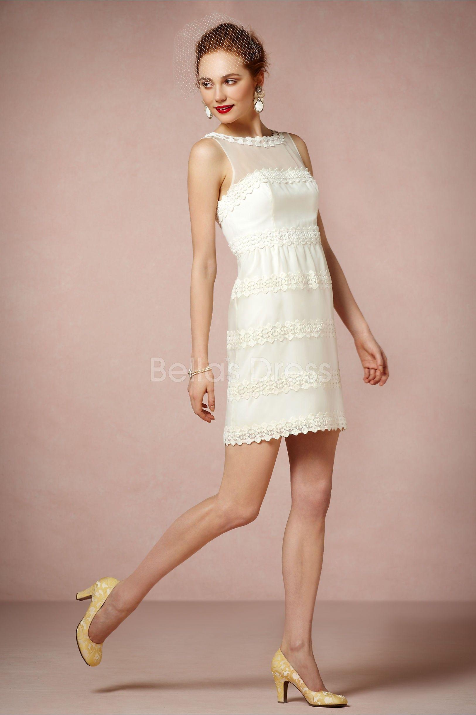 Short Length Bateau Sheath/ Column Organza With Lace Graceful Wedding Dress
