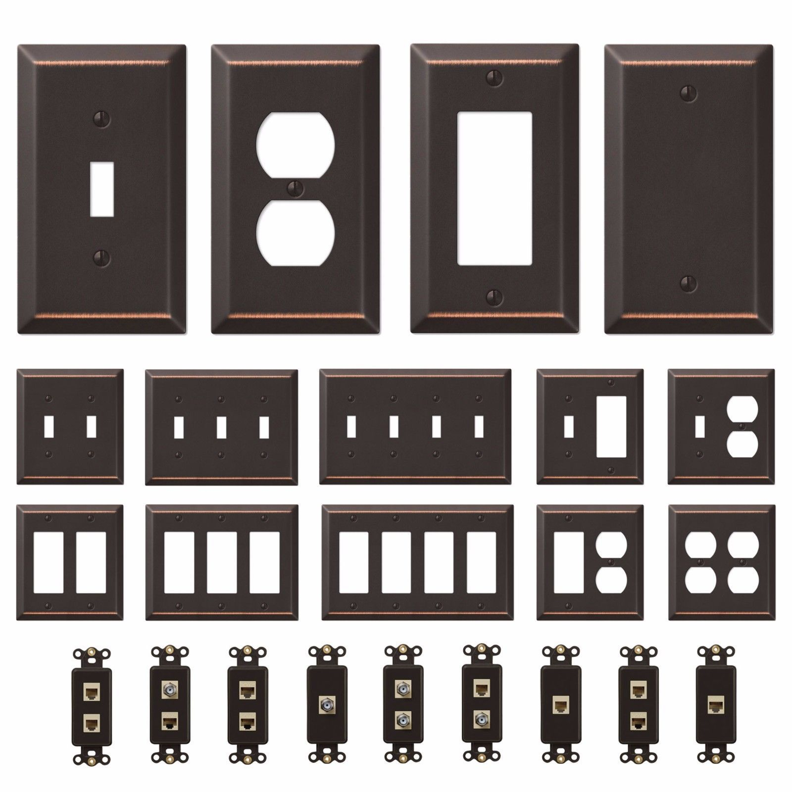 Oil Rubbed Bronze Wall Switch Plate Outlet Cover Toggle Rocker Gfi