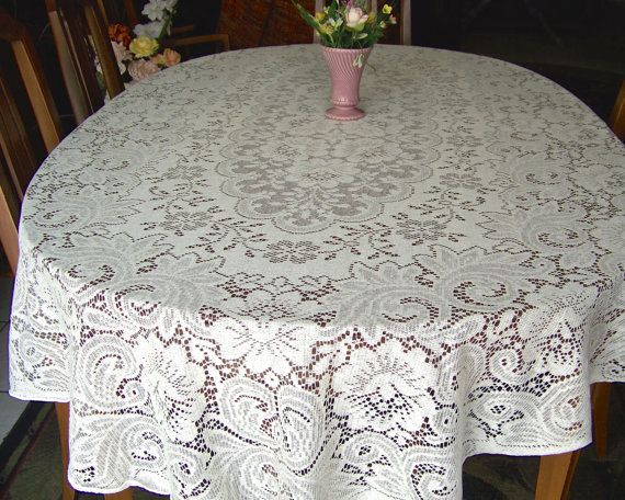 Charming Vintage Lace Oval Tablecloth Off White Cottage By CynthiasAttic