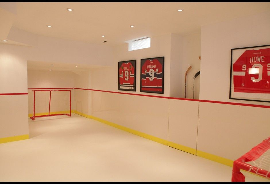 Indoor Mini Hockey Rink Photos Hgtv Canada Hockey Room Bars For Home Hockey Bedroom