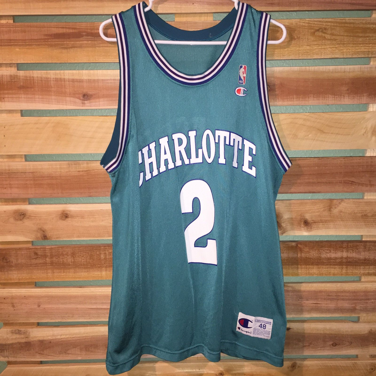 Rare mens vtg larry johnson champion charlotte hornets basketball jersey 48  xl 278d0c43f