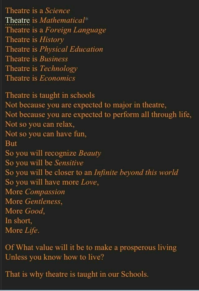 Theatre is life. | Inspiration & Ponderisms in 2019 ...