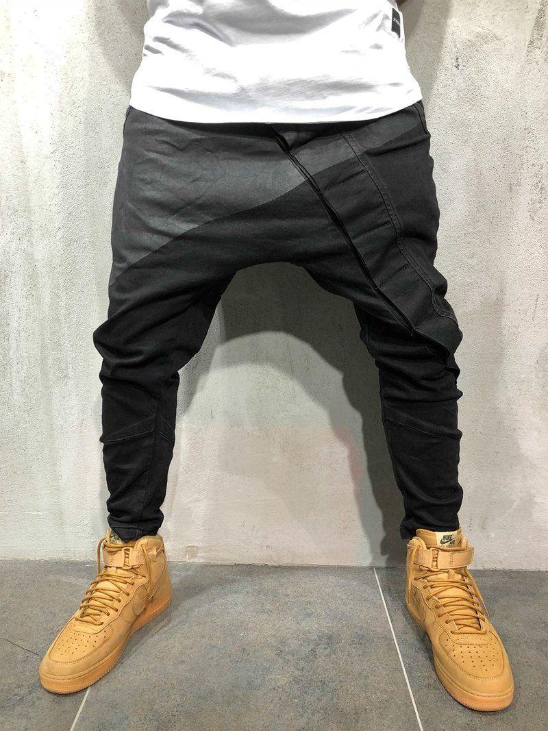 Moderne Joggingbroek Heren.Men Stylish Harem Low Crotch Pants Black 3566 In 2019 Hosen
