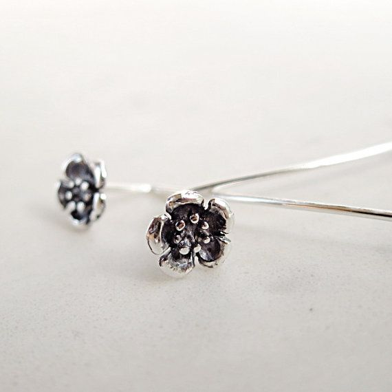 Flower earrings long stem Sterling Silver by BarronDesignStudio, $26.00