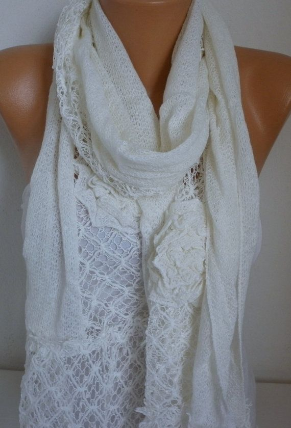 Creamy White Floral Scarf Spring Summer Scarf Shawl by fatwoman