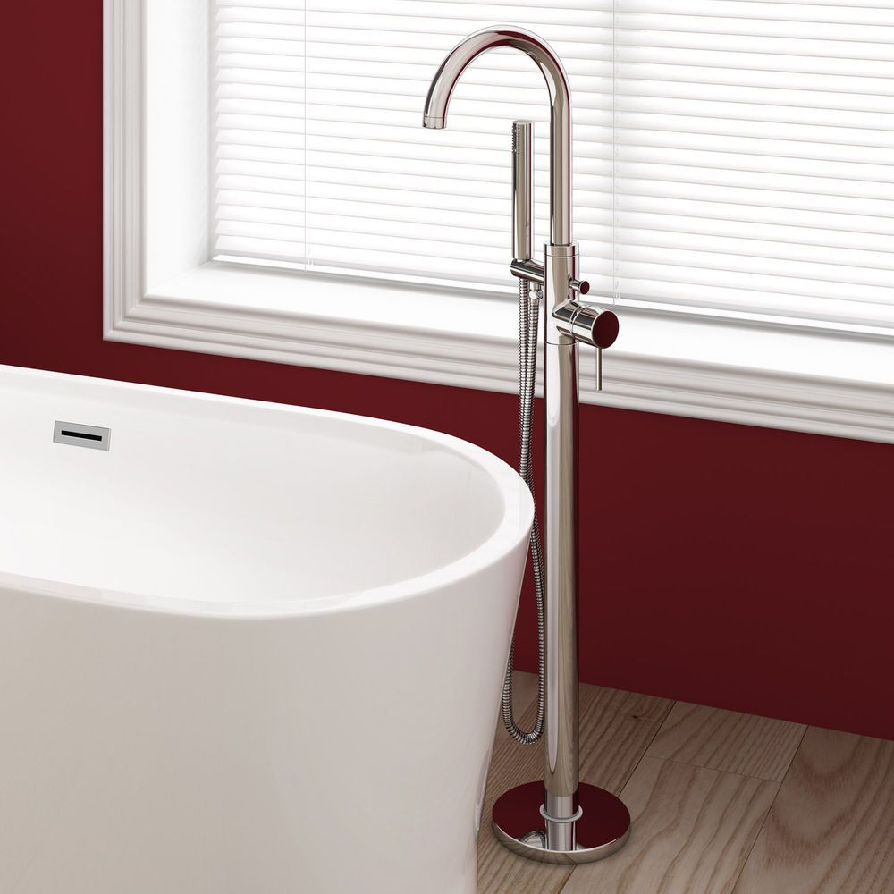 Free Standing Bath Shower Mixer Tap Floor Mounted Chrome Metal Over ...