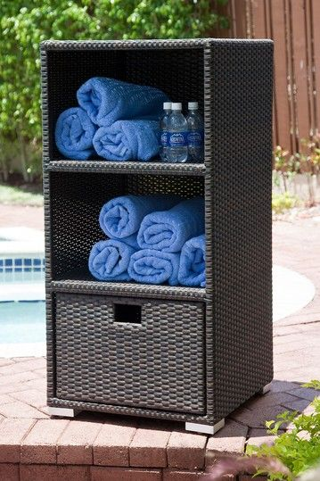 Could Totally Use This By The Pool Pool Towel Storage Pool Towels Patio Storage