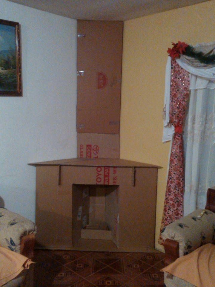 Como hacer chimeneas de carton de cart n pinterest for Como hacer una chimenea falsa