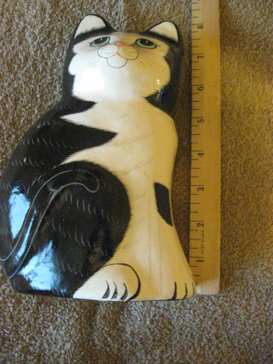 Vintage Cat Figurine Carol Sax Handpainted 1993 CL10-29 от DyDa  Vintage Collectible   Cat Figurine   Carol Sax Handpainted 1993  Made in India  7 3/4 inches tall