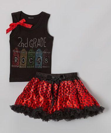 Another great find on #zulily! Black & Red '2nd Grade' Tank & Pettiskirt - Toddler & Girls #zulilyfinds