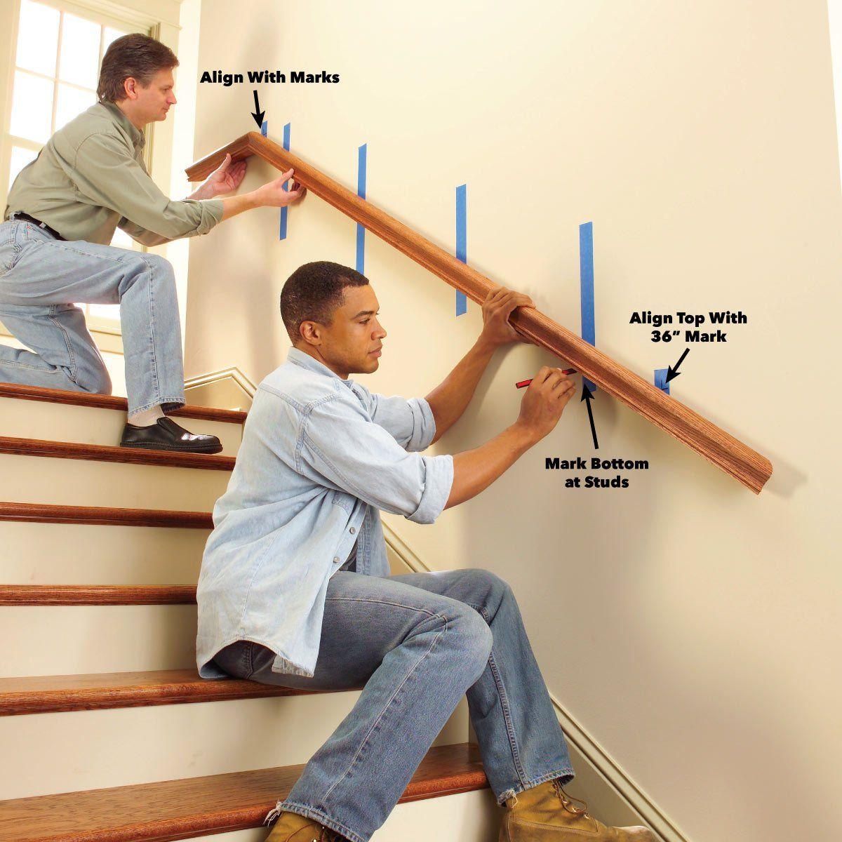 Install a New Stair Handrail   Stair handrail, Stair ...
