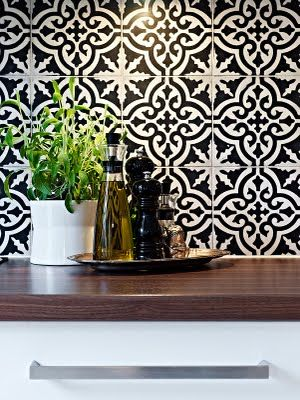 Tiles... Love A Black And White Kitchen With A Pop Color To Accent Images
