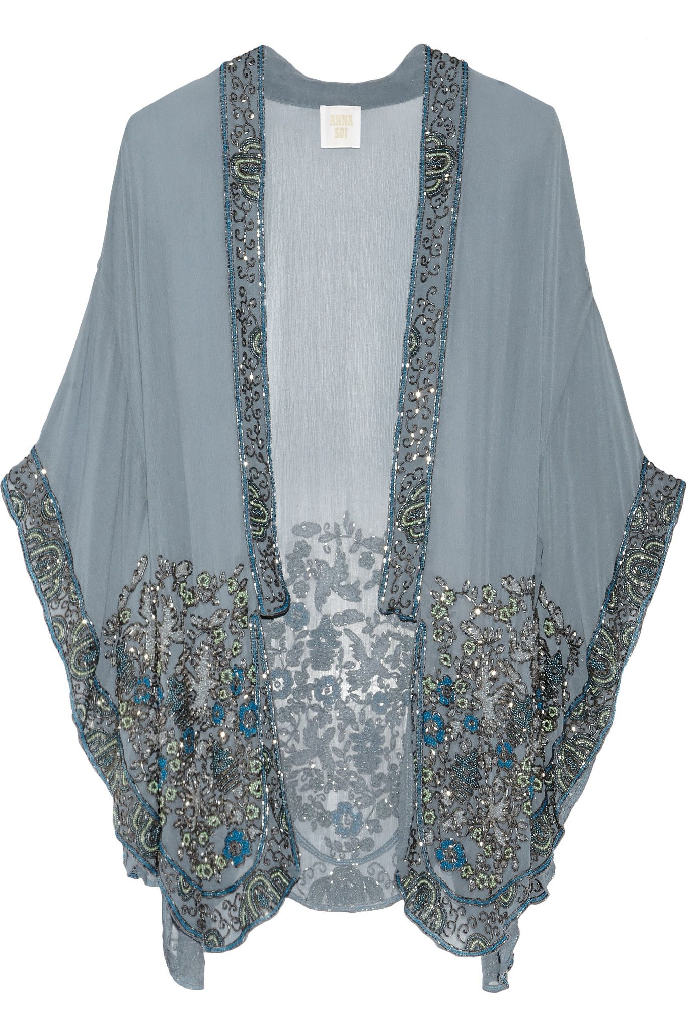 the embellished edge of this Anna Sui kimono jacket. Informal structure  added to the highly embellished trim makes this a double agent--worn with  jeans or a ...