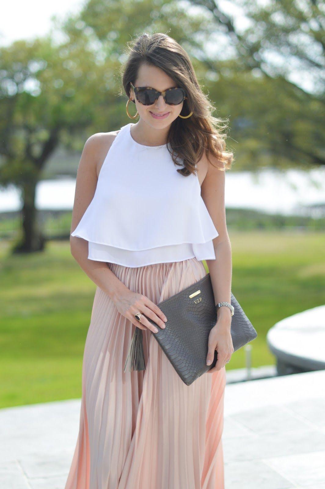 Perfect Pleats Vegas Outfit Maxi Skirt Spring Maxi Skirt Crop Top